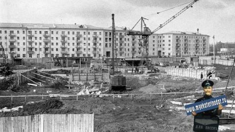 Строительство кинотеатра «Аврора», зима 1964/1965 гг.